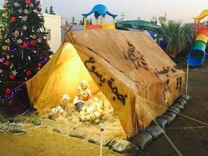 Tenda presepe campo rifugiati Iraq